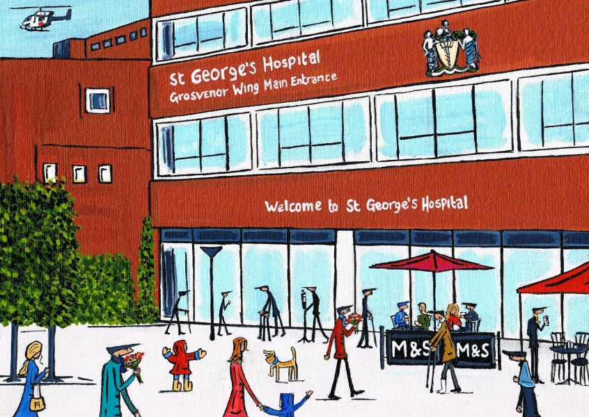 Illustration South London Artist St George's hospital entrance