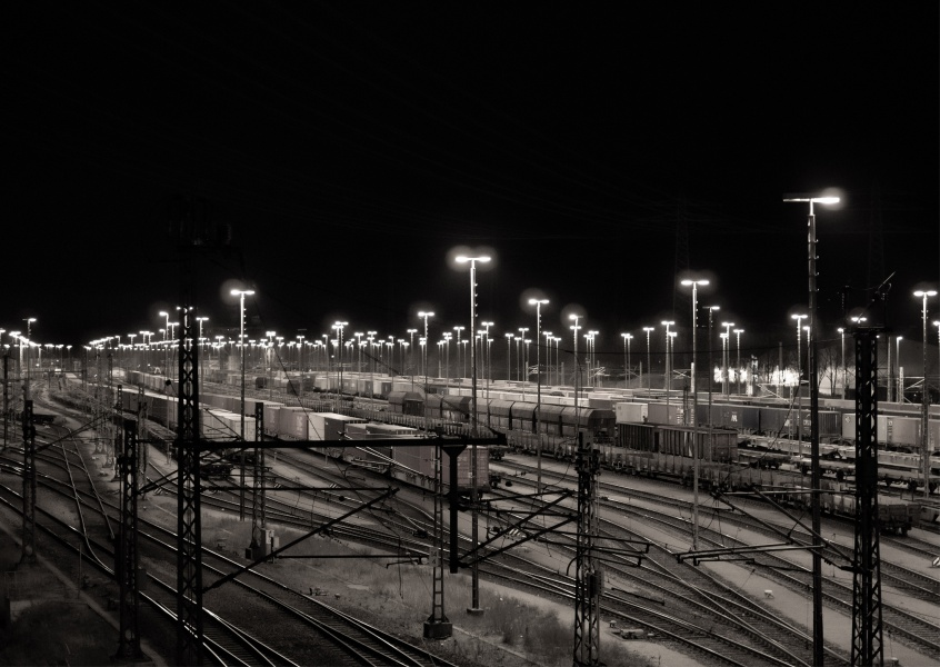 James Graf photo freight depot by night