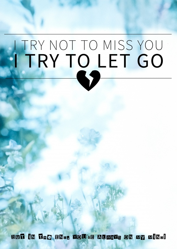saying I try not to miss you, I try to let go