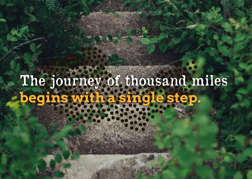 postcard quote The journey of a thousand miles begins with a single step