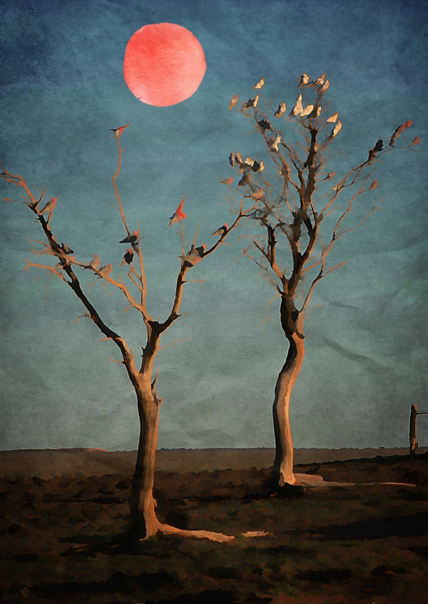 Kubistika little trees with red moon