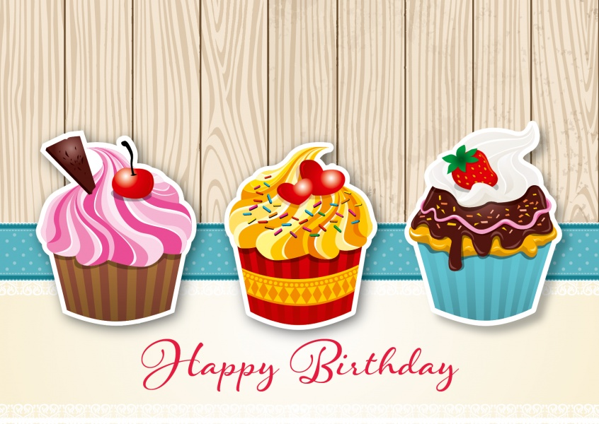3 muffins happy birthday postcard greeting card