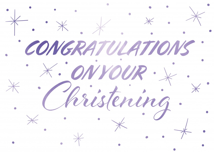 Christening congratulation card blue and white