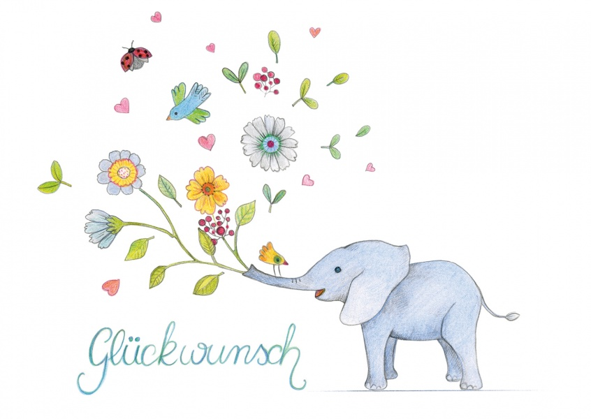 Glueckwunsch illustration mit Elefant