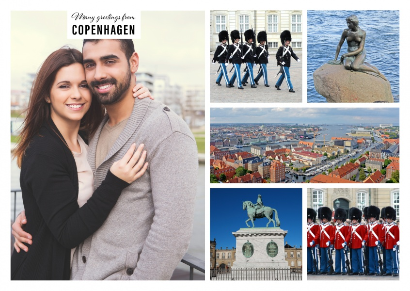 five photos with tourist features of Copenhagen