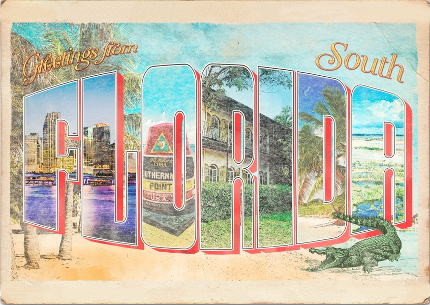 Greetings from South Florida - Vintage Card
