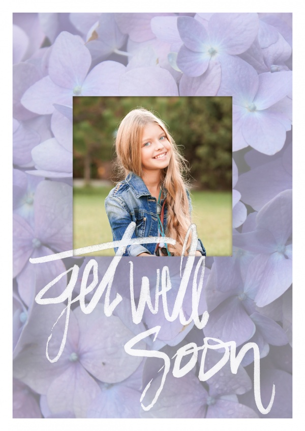 Purple Violets and white, fast handlettering saying get well soon