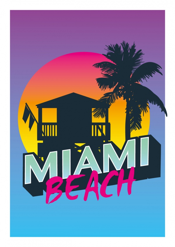 Miami beach 80s retro style card