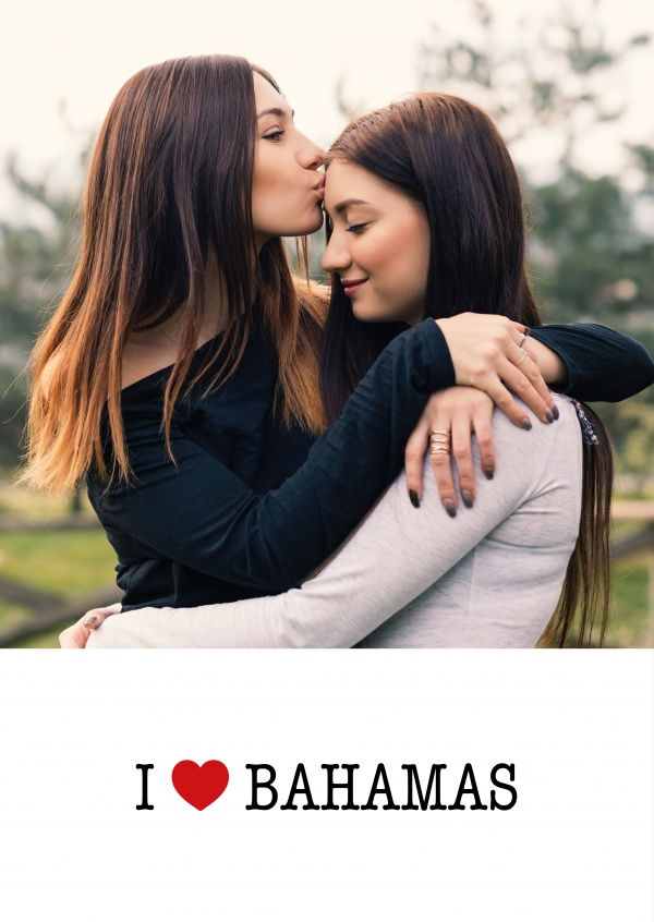 template with I love Bahamas sign