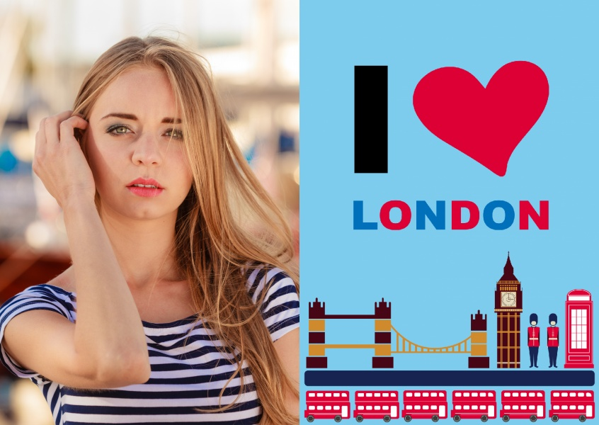 greeting card with I love London sign and graphics around