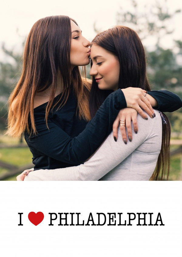 template with I love Philadelphia sign