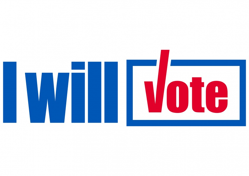 White lettering on white – I will vote
