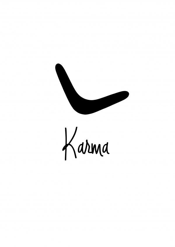 Karma written on black handwriting on white background with boomerang–mypostcard