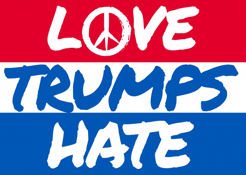 Love Trumps Hate on red, blue and white stripes