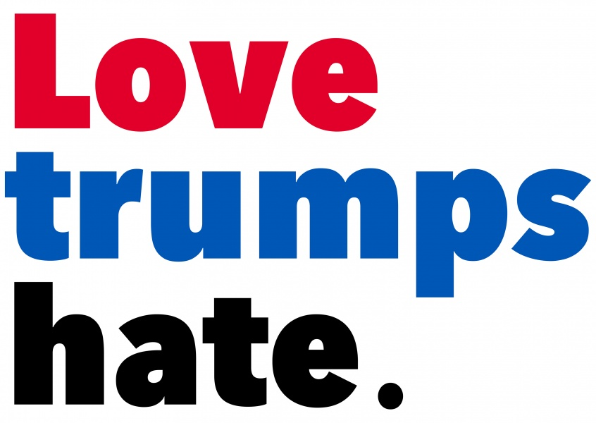 Love Trumps Hate in blue red black