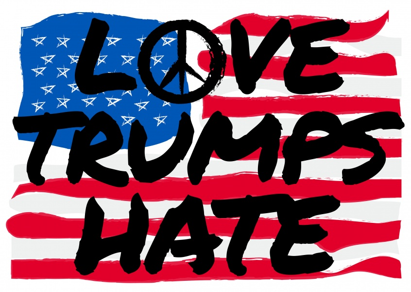 Love Trumps Hate in black on american flag