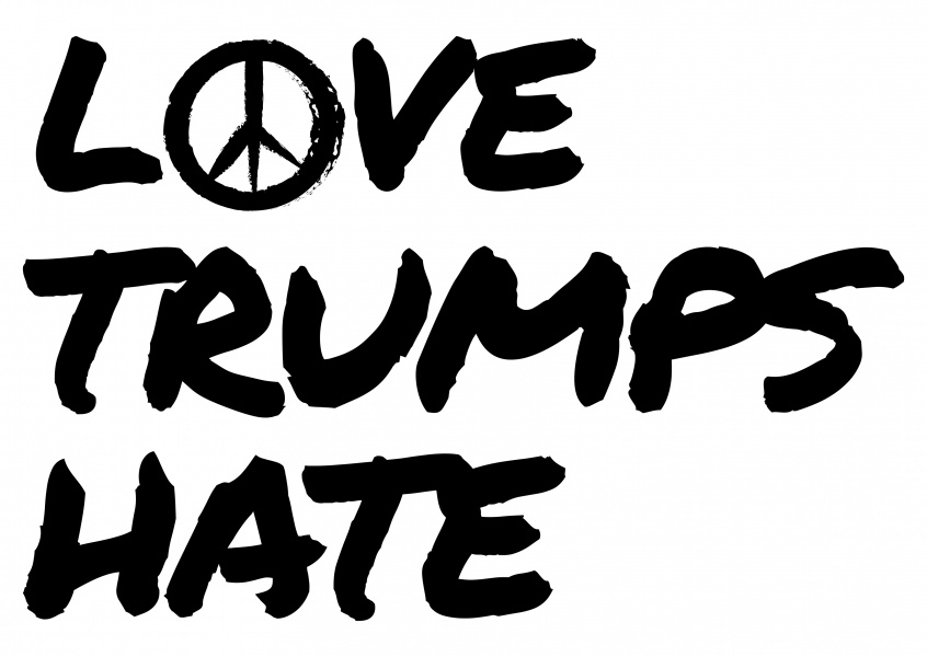 Love Trumps Hate in black handwriting