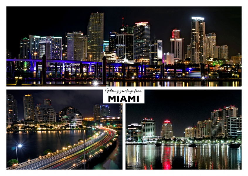 Many Greetings from MIAMI - by night