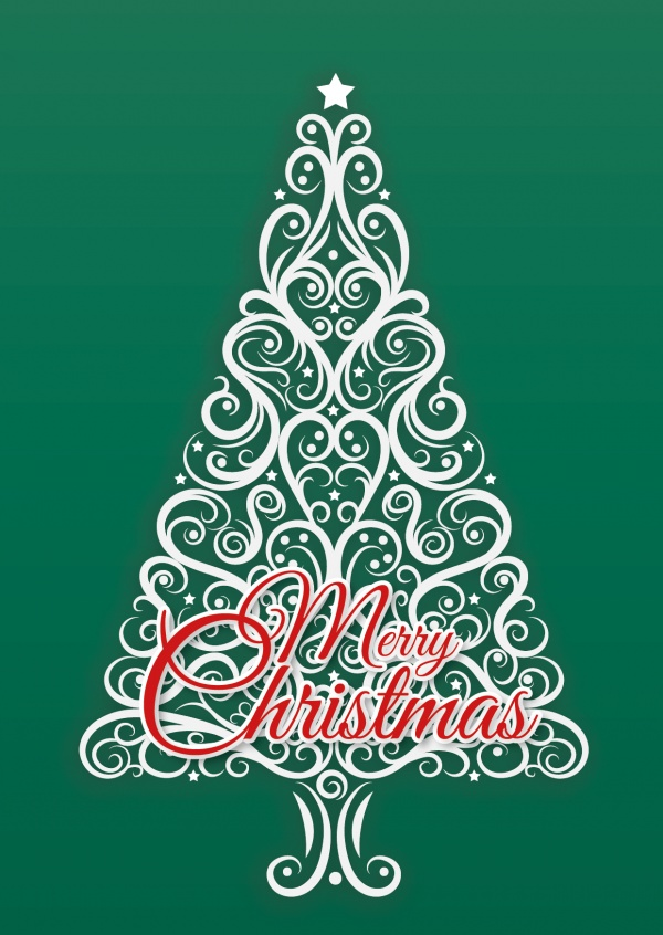 White Christmastree on green background