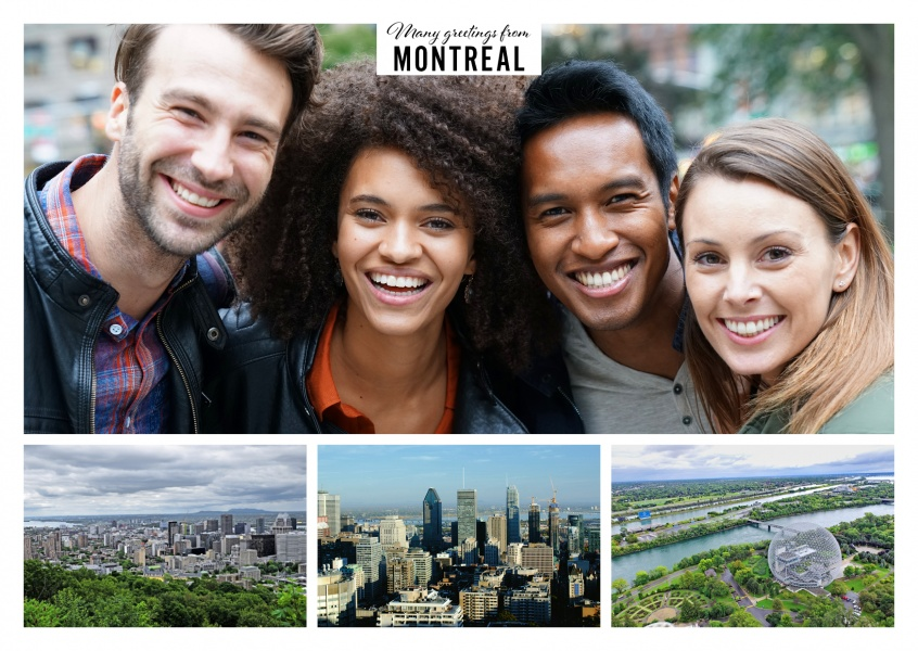 Postcard with three photos of Montreal