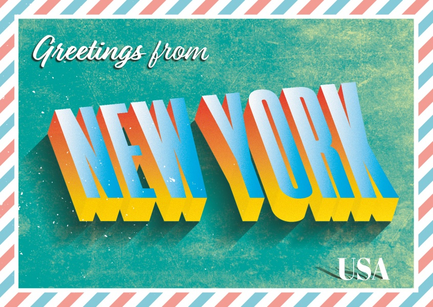 New York - Retro Style Postcard Design - Postcard