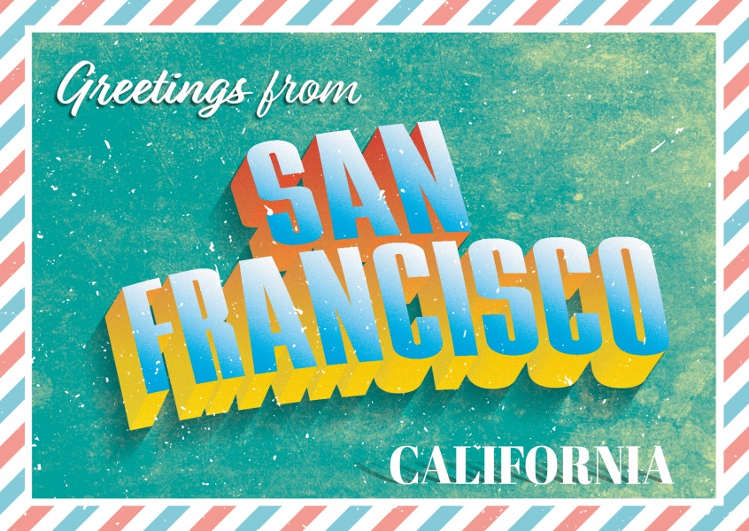 San Francisco - Retro Style - Greetings from San Francisco Vintage Postcard