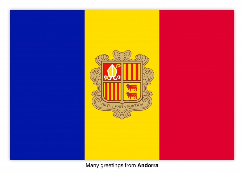 Postcard with flag of Andorra