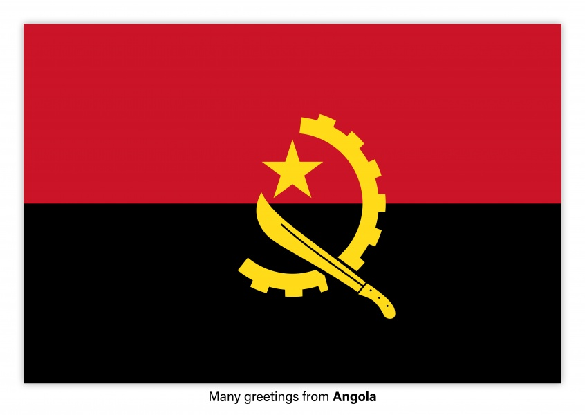 Postcard with flag of Angola
