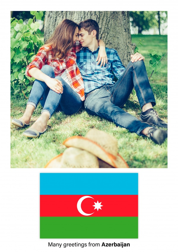 Postcard with flag of Azerbaijan