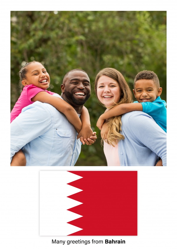 Postcard with flag of Bahrain
