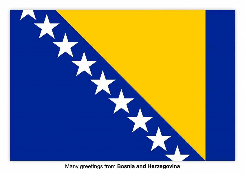 Postcard with flag of Bosnia and Herzegovina