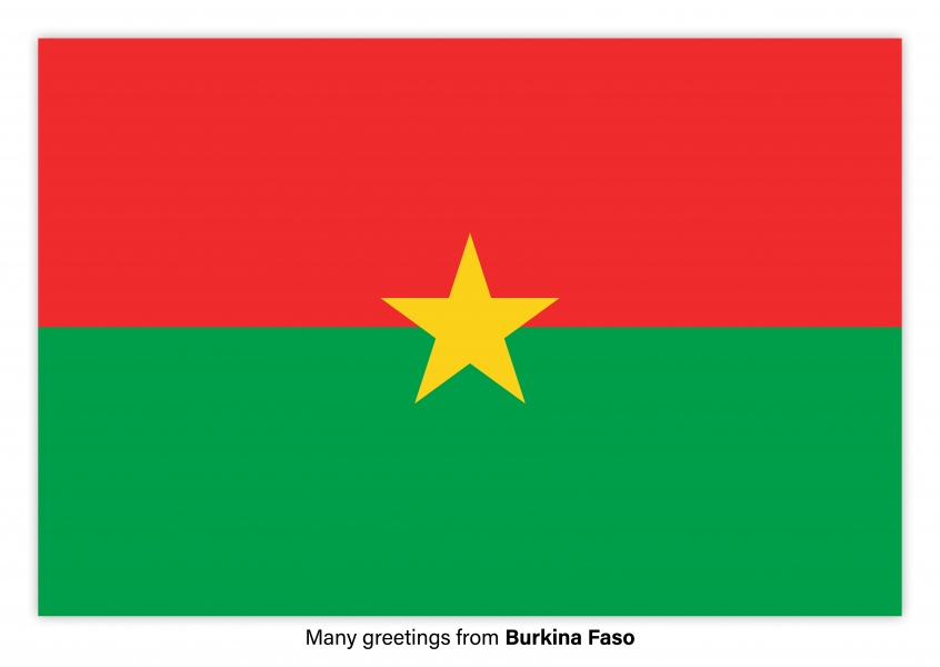 Postcard with flag of Burkina Faso