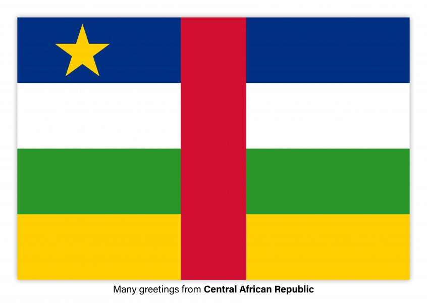 Postcard with flag of Central African Republic