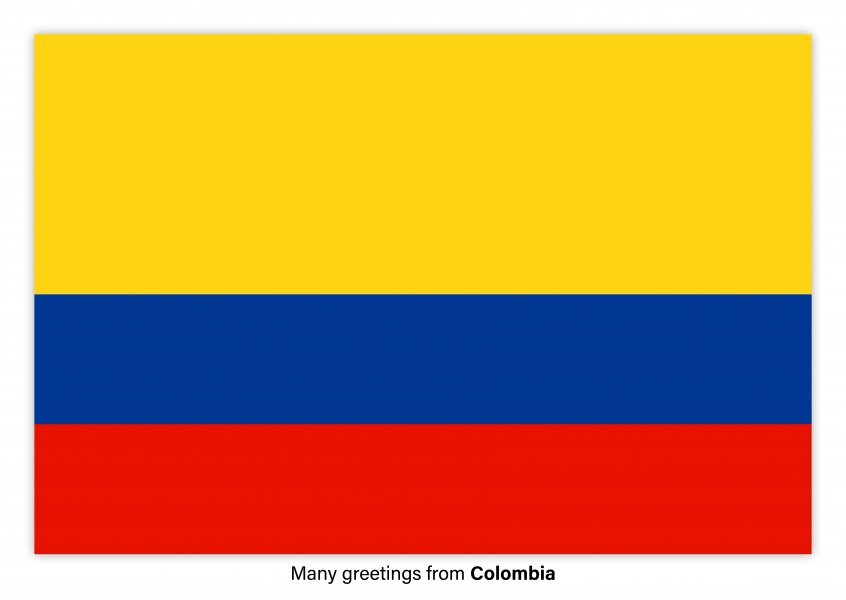 Postcard with flag of Colombia