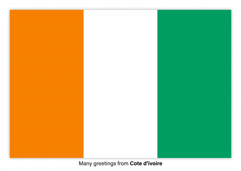 Postcard with flag of Côte d'Ivoire