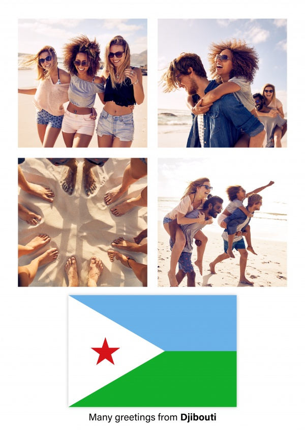 Postcard with flag of Djibouti