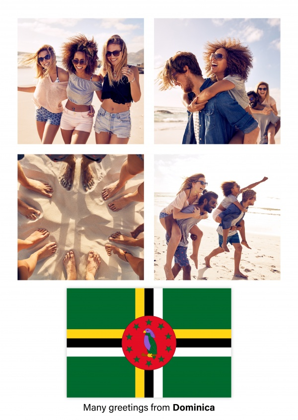 Postcard with flag of Dominica
