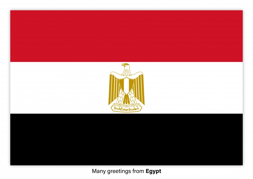 Postcard with flag of the Egypt