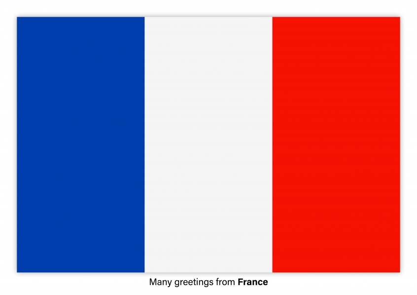 Postcard with flag of France