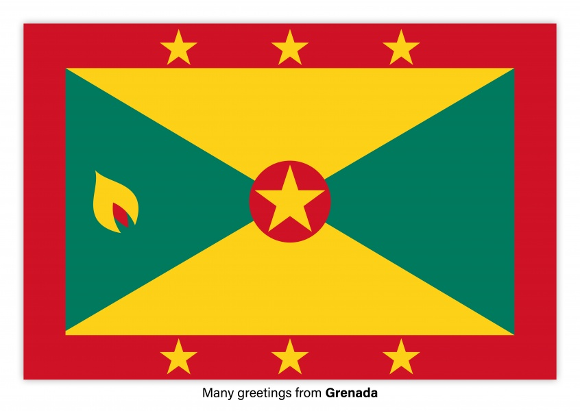 Postcard with flag of Grenada