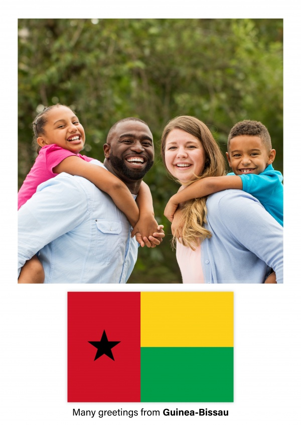 Postcard with flag of Guinea-Bissau