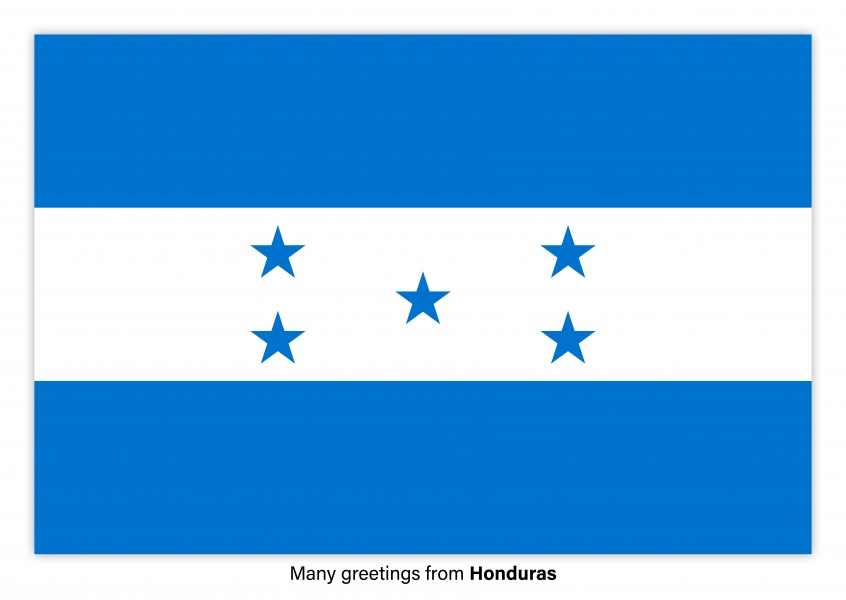 Postcard with flag of Honduras