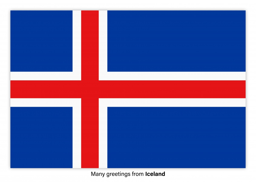 Postcard with flag of Iceland