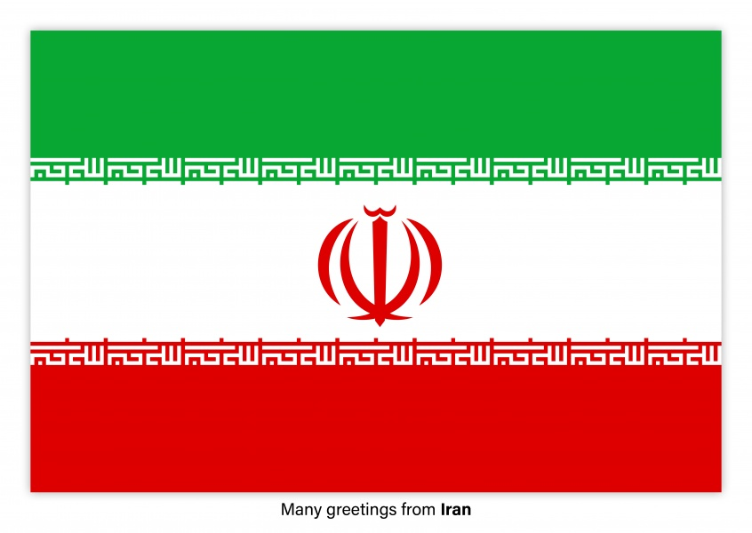 Postcard with flag of Iran