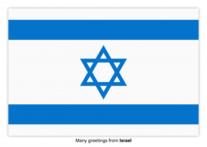 Postcard with flag of Israel