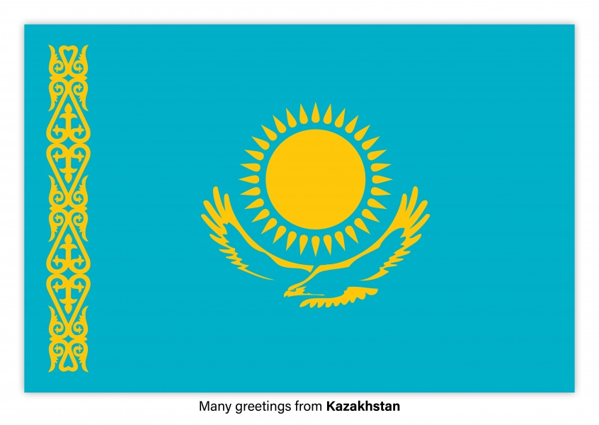 Postcard with flag of Kazakhstan