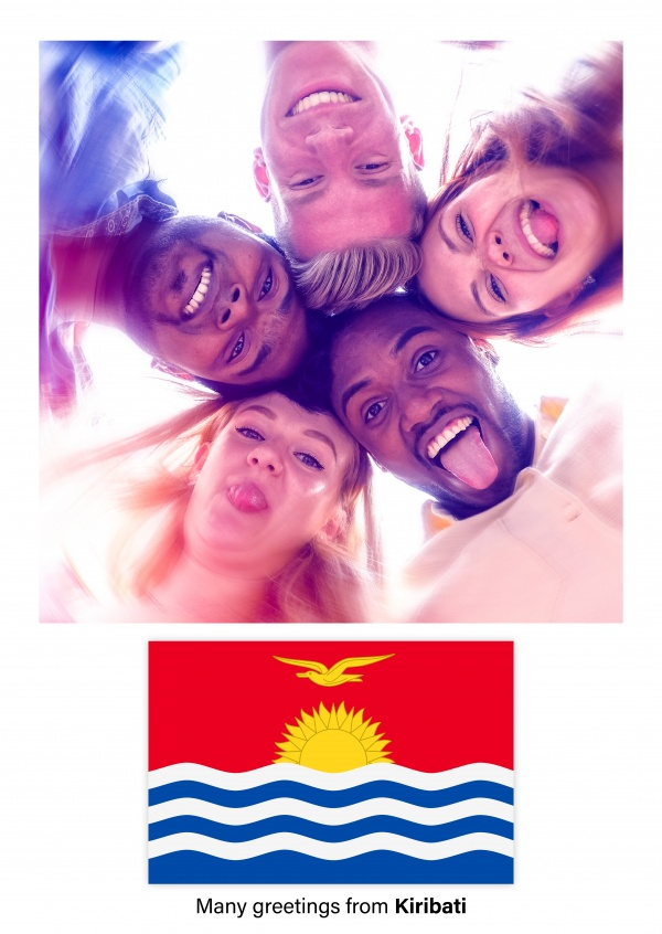 Postcard with flag of Kiribati