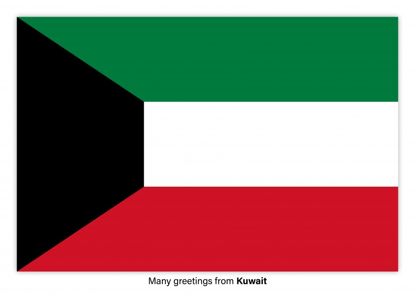 Postcard with flag of Kuwait