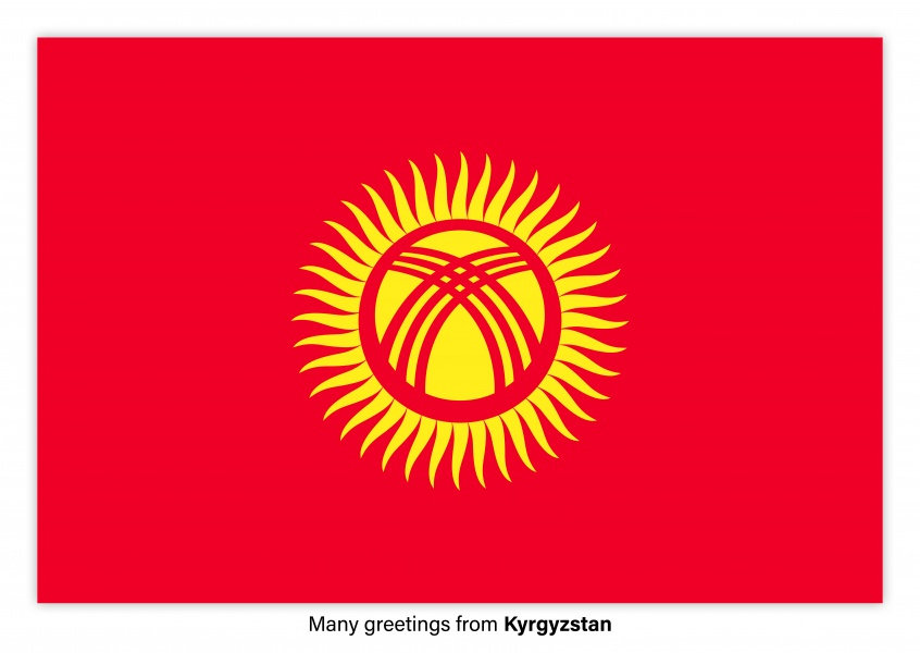 Postcard with flag of Kyrgyzstan