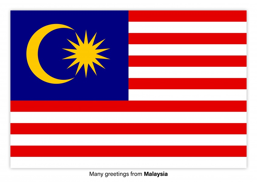 Postcard with flag of Malaysia